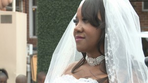 close up photo of bride at wedding