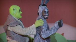 scene from Shrek The Musical with Shrek and Donkey